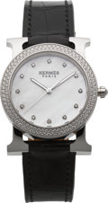 Luxury Accessories:Accessories, Hermes Diamond H-Hour Round Watch with Crocodile Strap. ...