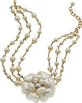 Luxury Accessories:Accessories, Chanel Pearlized Very Rare Camelia Flower Choker Necklace. ...