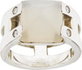 Luxury Accessories:Accessories, Hermes Sterling Silver Diamond & Moonstone Signature H Ring. ...