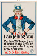 "Military & Patriotic:WWI, World War I Home Front Poster: Uncle Sam ""I Am Telling You"" byJames Montgomery Flagg. ..."