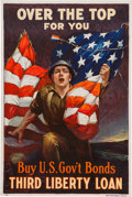 "Military & Patriotic:WWI, World War I Home Front Poster: ""Over the Top For You""...."