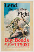 """Military & Patriotic:WWI, Dynamic World War I Home front Poster: """"Lend the way theyFight""""...."""