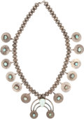American Indian Art:Jewelry and Silverwork, A NAVAJO SILVER AND TURQUOISE SQUASH BLOSSOM NECKLACE. c. 1960...