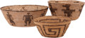 American Indian Art:Baskets, THREE PIMA/PAPAGO COILED BASKETS... (Total: 3 Items)