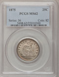 Seated Quarters: , 1875 25C MS62 PCGS. PCGS Population (32/170). NGC Census: (41/144).Mintage: 4,293,500. Numismedia Wsl. Price for problem f...