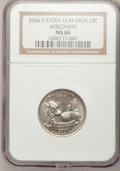 Statehood Quarters, 2004-D 25C Wisconsin Extra Leaf High MS66 NGC. PCGS Population(145/2). Numismedia Wsl. Price for probl...