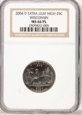Statehood Quarters, 2004-D 25C Wisconsin Extra Leaf High MS66 Prooflike NGC. NGCCensus: (0/0). PCGS Population (145/2). Numismedia Wsl. Price...