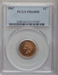 Proof Indian Cents: , 1867 1C PR64 Red and Brown PCGS. PCGS Population (82/36). NGC Census: (56/45). Mintage: 625. Numismedia Wsl. Price for prob...