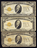 Small Size:Gold Certificates, Fr. 2400 $10 1928 Gold Certificates. Three Examples.. ... (Total: 3 notes)