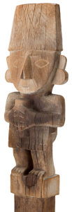 Antiques:Antiquities, Figural Burial Post Carved From Wood...