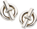 Luxury Accessories:Accessories, Hermes Sterling Silver Chaine d'Ancre Buckle Earrings. ...