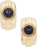 Luxury Accessories:Accessories, Hermes 18K Gold Half Loop Earrings with Iolite Stones, originalCoral Stones included. ...