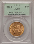 Liberty Eagles: , 1883-S $10 AU58 PCGS. PCGS Population (16/46). NGC Census: (37/54).Mintage: 38,000. Numismedia Wsl. Price for problem free...
