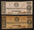 Confederate Notes:Group Lots, T54 $2 1862 Two Examples Extremely Fine-About Uncirculated. ...(Total: 2 notes)