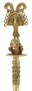Antiques:Antiquities, Gold Pin with Bird Perched on Monkey...