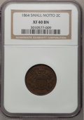 Two Cent Pieces: , 1864 2C Small Motto XF40 NGC. NGC Census: (9/254). PCGS Population(15/210). Mintage: 19,847,500. Numismedia Wsl. Price for...