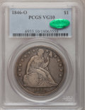 Seated Dollars: , 1846-O $1 VG10 PCGS. CAC. PCGS Population (5/199). NGC Census:(1/135). Mintage: 59,000. Numismedia Wsl. Price for problem ...