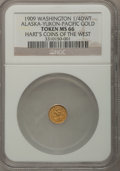 Expositions and Fairs, 1909 Alaska-Yukon-Pacific Exposition, 1/4 DWT Alaska Gold MS66 NGC.Hart's Coins of the West....