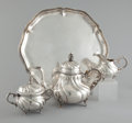 Silver Holloware, Continental:Holloware, A GERMAN SILVER COFFEE SERVICE WITH TRAY . Maker unidentified,Germany, circa 1950. Marks: (crescent, crown), 835, ABC, HA...(Total: 5 Items)