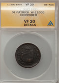 (1670-75) FARTH St. Patrick Farthing--Corroded--ANACS. VF20 Details. Whitman-11500....(PCGS# 42)