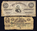 Confederate Notes:1862 Issues, $2 1862 and $50 1864 Notes.. ... (Total: 2 notes)