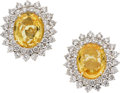 Estate Jewelry:Earrings, Yellow Sapphire, Diamond, Gold Earrings. ... (Total: 2 Pieces)