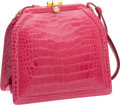 Luxury Accessories:Bags, Judith Leiber Shiny Pink Alligator Evening Bag. ...