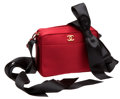 Luxury Accessories:Bags, Chanel Red Satin & Black Ribbon Pochette. ...