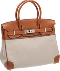 Luxury Accessories:Bags, Hermes 30cm Toile & Gold Swift Leather Birkin Bag withPalladium Hardware. ...
