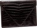 Bottega Veneta Dark Burgundy Crocodile Double Flap Portfolio, Retail $21,000