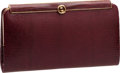 Luxury Accessories:Bags, Gucci Vintage Red Wine Lizard Signature GG Frame Clutch. ...