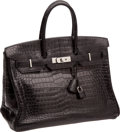 Luxury Accessories:Bags, Hermes 35cm Matte Black Porosus Crocodile Birkin Bag with PalladiumHardware. ...