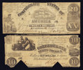 Confederate Notes:Group Lots, T18 $20 1861 & T28 $10 1861. ... (Total: 2 notes)