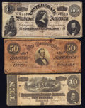 Confederate Notes:Group Lots, Confederate Group 1864 T68 $10, T66 $50, & T65 $100.. ...(Total: 3 notes)