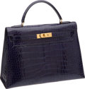 Luxury Accessories:Bags, Hermes 32cm Shiny Bleu Saphir Alligator Kelly with Gold Hardware....