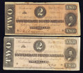 Confederate Notes:Group Lots, T-70 $2 1864 Two Examples.. ... (Total: 2 notes)
