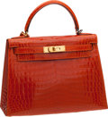 Luxury Accessories:Bags, Hermes 28cm Shiny Orange H Nilo Crocodile Kelly with PalladiumHardware. ...