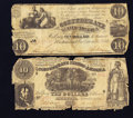 Confederate Notes:Group Lots, Confederate Group T28 $10 1861 & T30 $10 1861. ... (Total: 2notes)