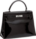 Luxury Accessories:Bags, Hermes 28cm Vintage Black Patent Leather Kelly. ...