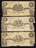 Confederate Notes:Group Lots, T36 $5 1861 Three Examples.. ... (Total: 3 notes)
