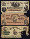Confederate Notes:Group Lots, Confederate Group Lot T41 $100 1862, T65 $100 1864, & T16 $501861.. ... (Total: 3 notes)