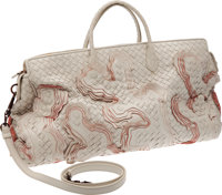 Bottega Veneta Limited Edition #64/100 Large Hand Woven Off-White Leather Bag Retail $8700