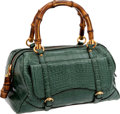 Luxury Accessories:Bags, Gucci Turquoise Alligator Classic New Bamboo Tote, Retail$15,000. ...