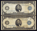 Large Size:Group Lots, $5 1914 Federal Reserve Notes Fr. 855a & Fr. 867a.. ... (Total: 2 notes)