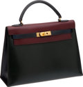 Luxury Accessories:Bags, Hermes 32cm Rouge H, Vert Fonce, & Indigo Tri-color Calf BoxLeather Kelly with Gold Hardware. ...