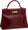 Luxury Accessories:Bags, Hermes 32cm Rouge H Calf Box Leather Kelly Bag with Gold Hardware....