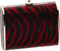 Luxury Accessories:Bags, Judith Leiber Black & Red Zebra Stripe Full Bead Small BoxEvening Bag. ...