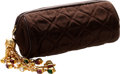 Luxury Accessories:Bags, Chanel Chocolate Satin Tube Clutch with Very Special SignatureChanel Gold & Jeweled Charm. ...