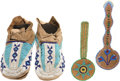 American Indian Art:Beadwork and Quillwork, THREE PLAINS BEADED HIDE ITEMS. c. 1910... (Total: 4 Items)