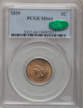 Indian Cents, 1859 1C MS64 PCGS. CAC....